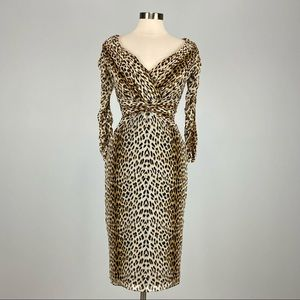 Tadashi Collection Leopard Print Ruched Dress S